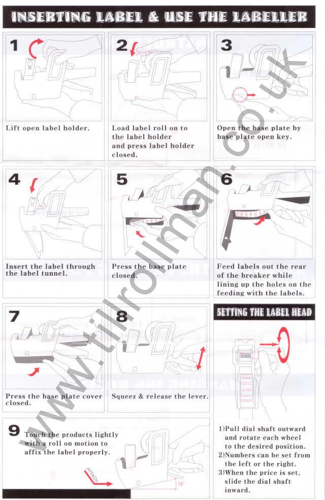 Motex Price Gun Label Loading Instructions From Till Roll Man